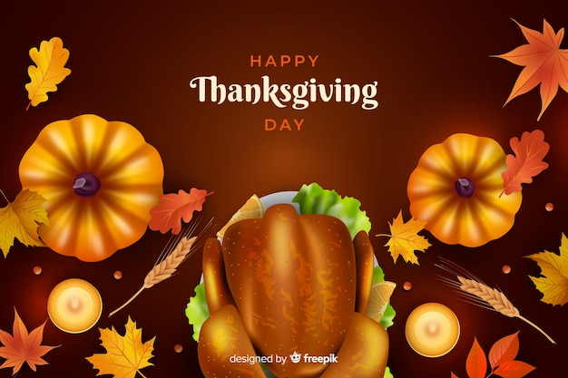 Realistic thanksgiving background with food