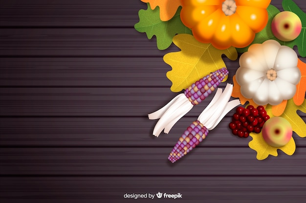 Realistic thanksgiving background with harvest