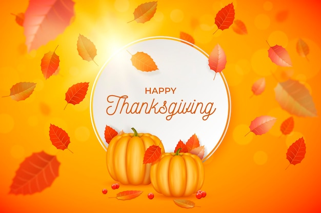 Realistic thanksgiving background with leaves and pumpkins