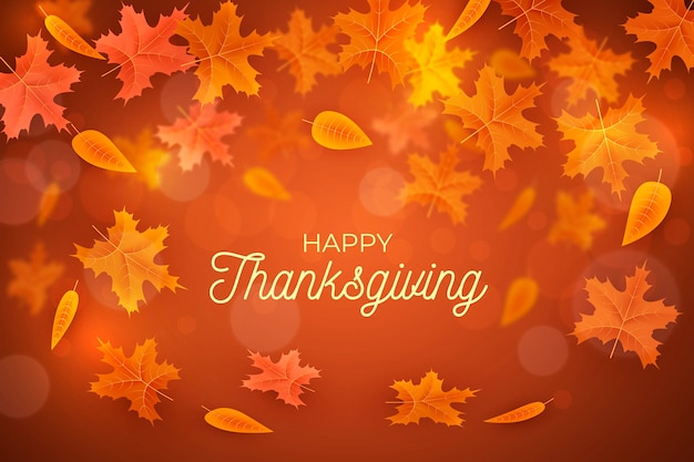 Realistic thanksgiving background with leaves