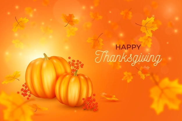 Realistic thanksgiving background with pumpkins and leaves