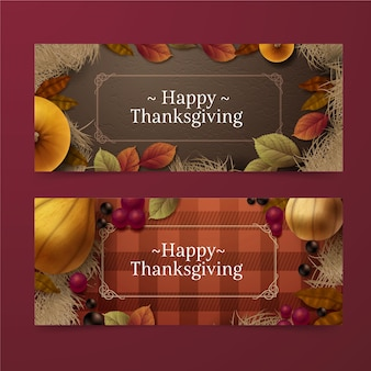 Realistic thanksgiving banner template