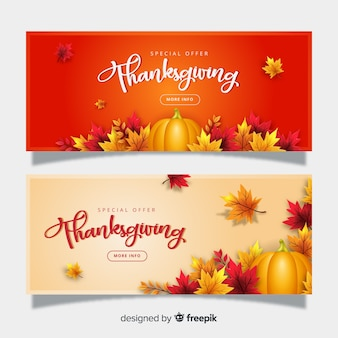 Realistic thanksgiving banners template