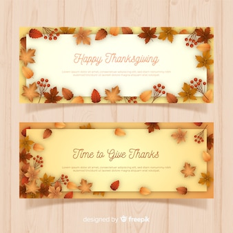 Realistic thanksgiving banners