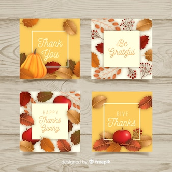 Realistic thanksgiving cards set