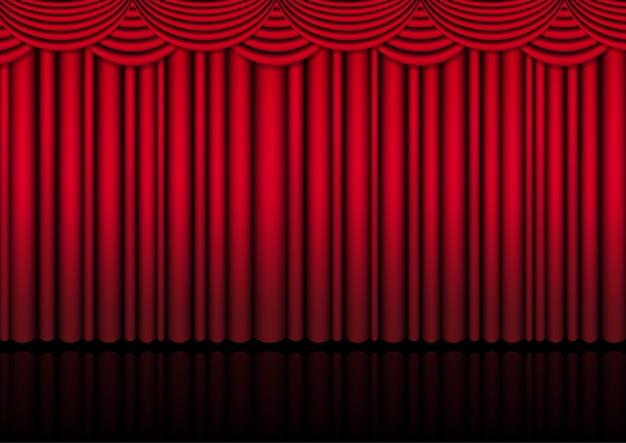 Реалистичная театральная сцена в помещении с красным занавесом для комедийного шоу или оперного кино.