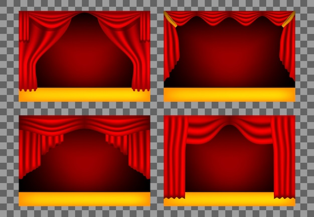 Realistic theater curtains, stage cinema, red backdrop
