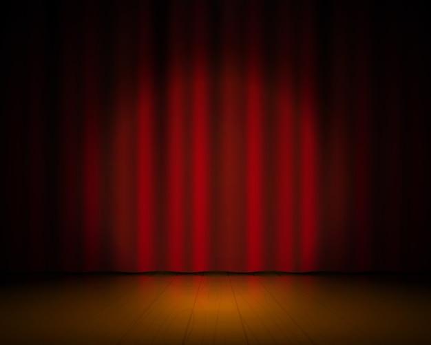 현실적인 극장 무대. 빨간 커튼과 스포트라이트, 브로드 웨이 쇼 배경, 우아한 시네마 드레이프