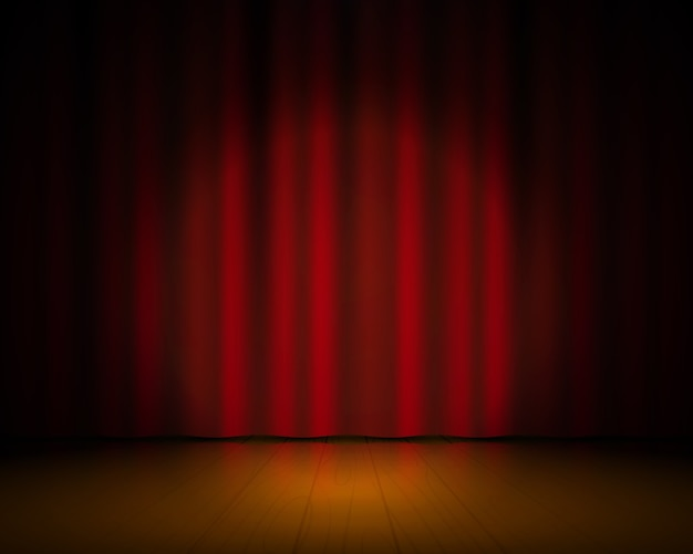 Realistic theater stage. red curtains and spotlight, broadway show background, elegant cinema drape