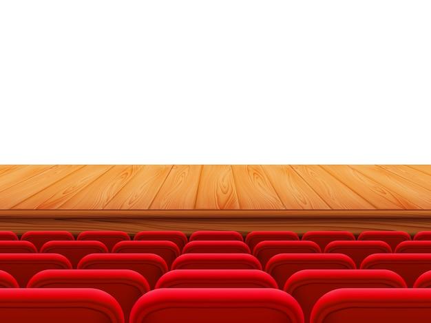 Реалистичная деревянная сцена театра или пол с рядами красных сидений, вид сзади. свободные места в кинозале, кинотеатре, театре, опере, мероприятиях, спектаклях. элемент интерьера. реалистичные 3d иллюстрации.