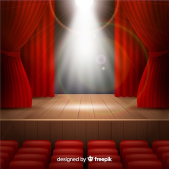 Realistic theatre stage with spotlights