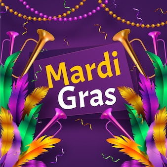 Realistic theme for mardi gras event celebration