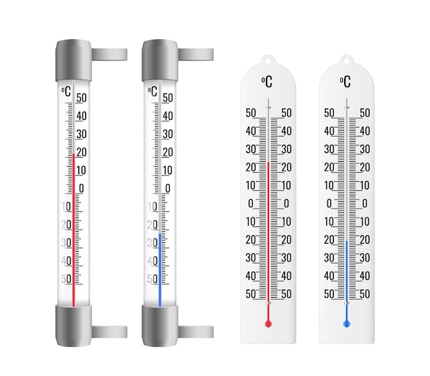 Realistic thermometers set. outdoor and indoor
