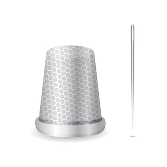 Realistic thimble and needle icon