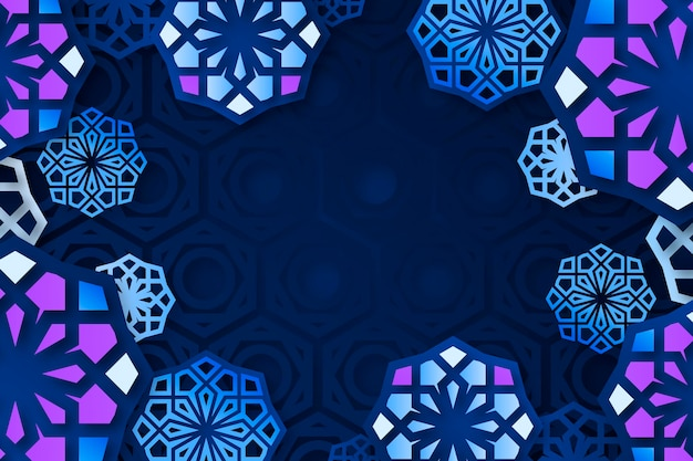 Realistic three-dimensional arabic ornamental background
