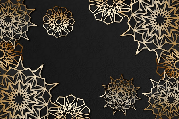 Realistic three-dimensional arabic ornamental background