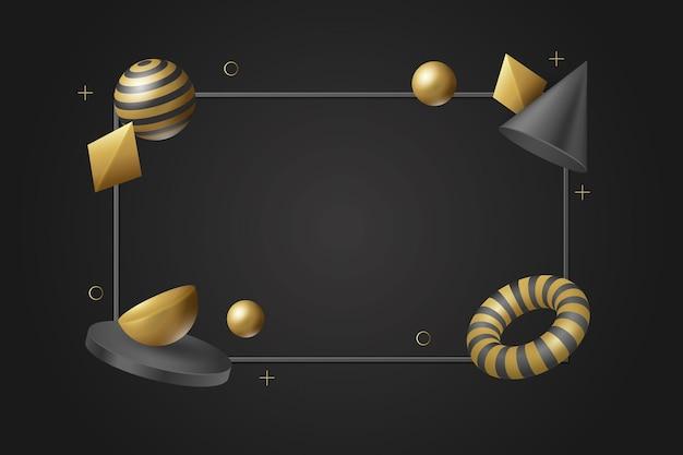 Sfondo di forme galleggianti tridimensionali realistiche