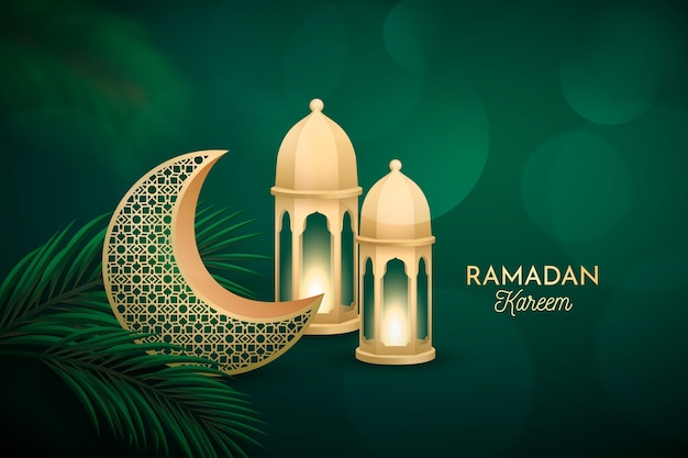 Realistic three-dimensional ramadan kareem illustration