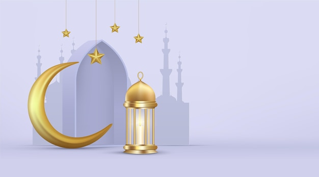 Realistic three dimensional ramadan kareem illustration Free Vector
