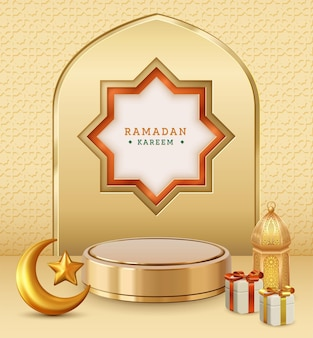 Realistic three dimensional ramadan kareem illustration