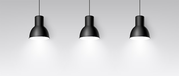 Realistic three lamp hanging from the ceiling. bright lighting. three black decorative ceiling lamps. modern pendant lamp