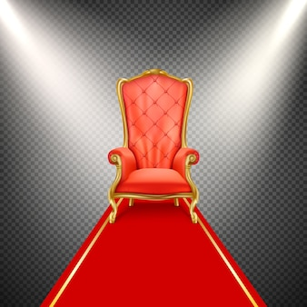 Realistic throne chair with red carpet