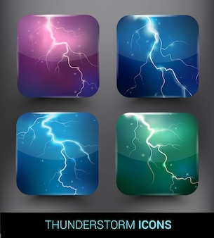 Realistic thunderstorm elements set