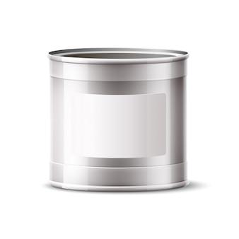 Реалистичная консервная банка, серебряный контейнер для продукта и краски Premium векторы