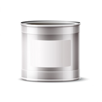 Realistic tin can, silver container for product and paint