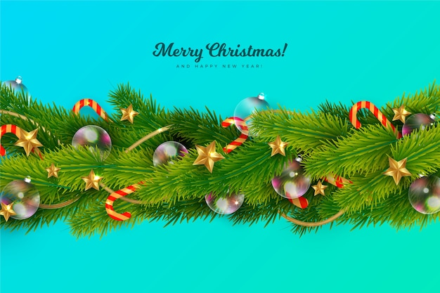 Realistic tinsel with decoration and pine leaves