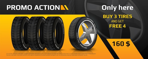 Realistic tire banner. car wheel repair and auto rubber advertising flyer, automobile information brochure with tyre sale offer. vector image quality auto service promo poster