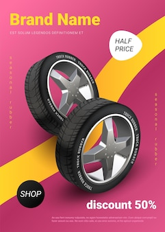 Realistic tire poster. car wheel promo, auto service and seasonal tyre change advertising banner. vector automobile rubber information flyer, modern brochure creative marketing business promotion