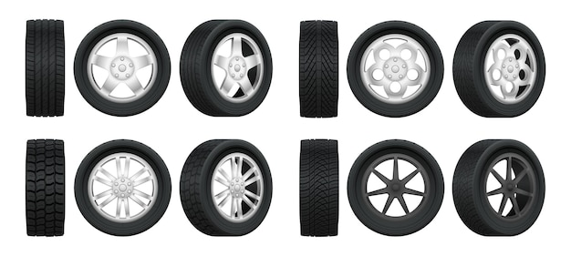 Realistic tires and alloy rims  for car