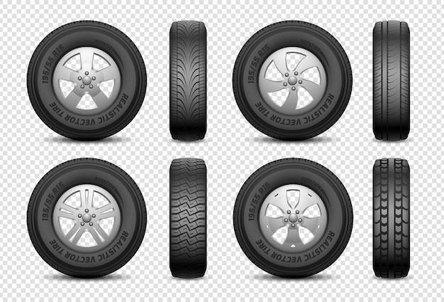 현실적인 타이어. 격리 된 자동차 고무 바퀴입니다. 차량 서비스, 트럭 바퀴 수리. 전면 및 측면보기 타이어