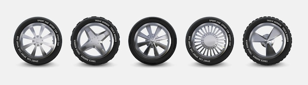 Набор реалистичных шин. колеса грузовика, изолированные на белых, зимних и летних автомобильных шинах, 3d детализированные диски из алюминиевого сплава. вектор черная автомобильная резина с разными ободами для автомобиля