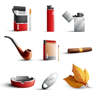 Realistic tobacco products set