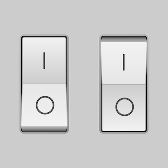 Realistic toggle switch. on and off positions