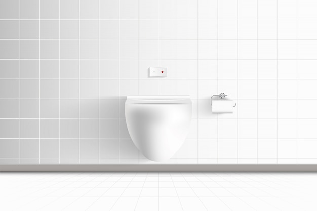 Realistic toilet bowl and modern architecture of interior resting room and decorative design., wc hygiene seat on ceramic tiles