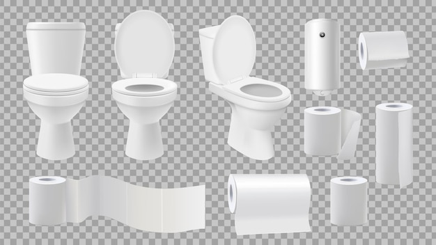 Realistic toilet bowl. restroom accessories isolated on transparent background.
