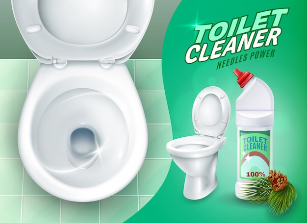 Realistic toilet and cleaner gel poster