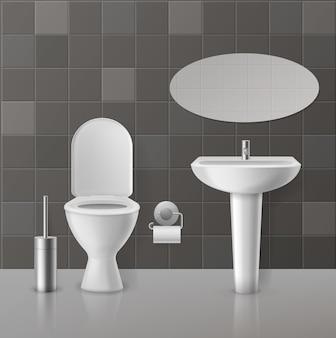 현실적인 화장실 인테리어. 흰색 변기, 도자기 위생 용품, 수도꼭지가있는 싱크대. 화장실 좌석 및 거울 홈 현대 개념