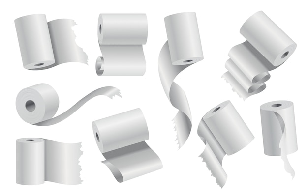 Realistic toilet paper or kitchen towel roll template mockup set isolated vector illustration. blank white 3d object. sanitary absorbent paper, rolled around a cardboard cylinder.
