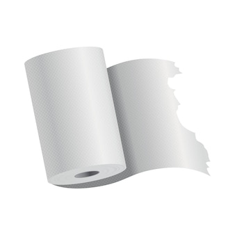 Realistic toilet paper or kitchen towel roll template