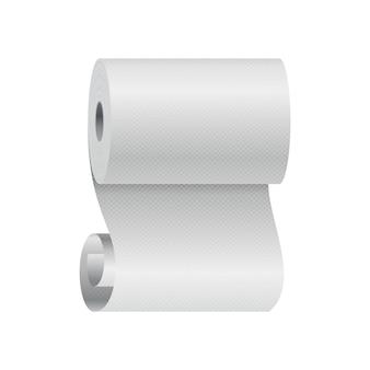 Реалистичный шаблон рулона туалетной бумаги или кухонного полотенца