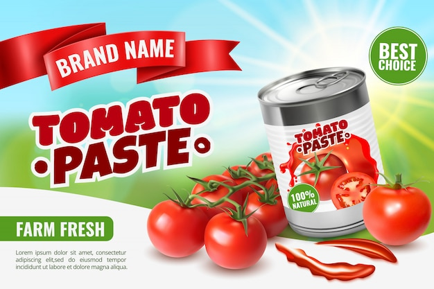 Realistic tomato ads  with branded metal can container editable text and images of ripe tomatoes