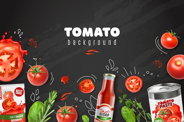 Realistic tomato chalkboard background with sketch style images drawn next to vegetables paste juice and ketchup