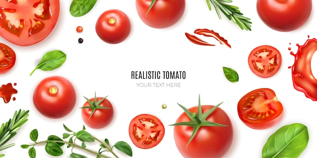 Realistic tomato frame background with editable text surrounded by isolated ripe vegetables and greens