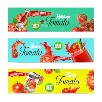 Realistic tomato horizontal banners set with ornate text juice splashes and ripe vegetables with ready products