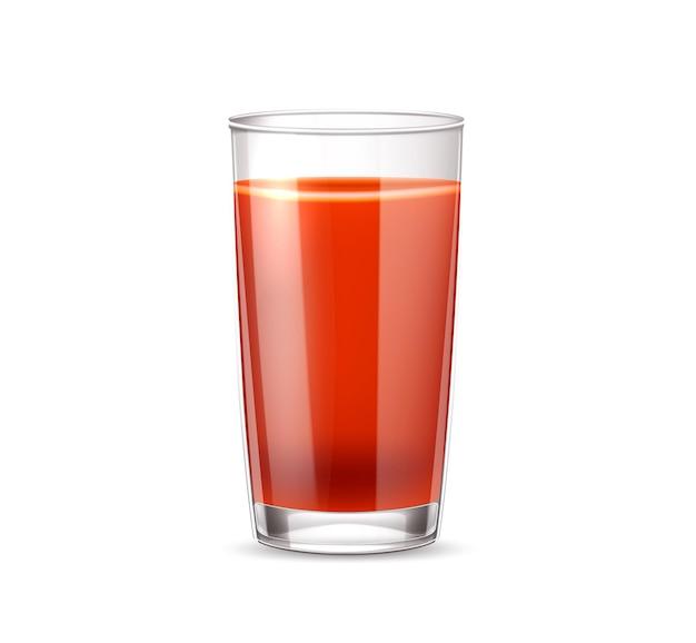 현실적인 토마토 주스 유리. 빨간 주스 컵, 건강한 식습관을위한 신선한 야채 음료. 유기농 음료, 피 묻은 결혼 칵테일 여름 파티. 채식 음료
