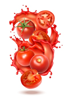 Realistic tomato juice splash composition with slices and whole fruits of tomato with liquid juice splashes